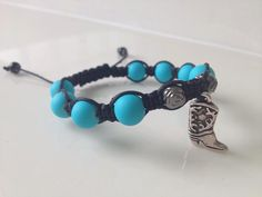 cowboy boot bracelet rose and turquoise beads