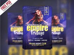 Download Friday Party Flyer Template Free PSD. Any nightclub can be successfully promoted with this great Free flyer template. The whole flyer is designed to be modern, and that's why it uses modern fonts and colors. This party flyer template is A4 Paper Size and is ready for print, because it's in CMYK at 300 dpi. The psd file can be edited in Adobe Photoshop, and to be able to change the text.