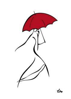 Фото Силуэт девушки с красным зонтом