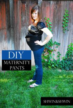 diy maternity pants tutorial-I like this! She left the back intact but it's a full belly band all the way around Shwin Maternity Sewing, Maternity Patterns, Maternity Pants, Maternity Nursing, Maternity Wear, Maternity Fashion, Maternity Style, Maternity Clothing, Kelsey Rose