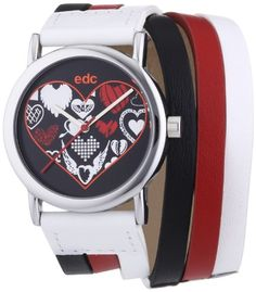Edc Damen-Armbanduhr XS Valentine Love - Hot Red Analog Quarz Leder EE100842004