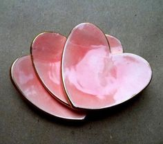 pink pottery heart trinket dishes