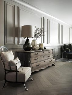We love herringbone floors to give a room a Parisian look.