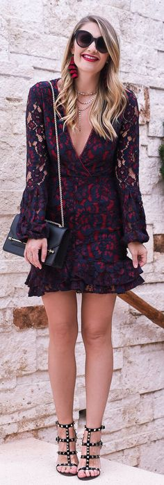#winter #outfits blue and red lace deep v-neck long-sleeved peplum dress