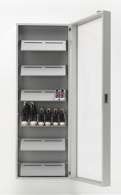 Wall Mounted Shoe Cabinet With Mirror Door