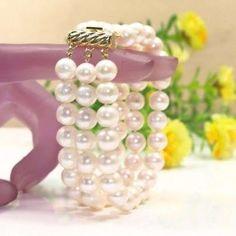 Graceful 3 Rows White Freshwater Pearl Bracelet for sale online Freshwater Pearl Bracelet, White Freshwater Pearl, Pearl White, Couple Bracelets, Bangle Bracelets, Bangles, Necklaces, White Pearl Necklace, Pearl Jewelry