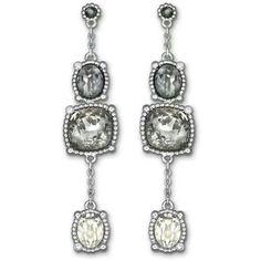 Rosette dark pierced earrings by Swarovski