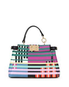 Micro Peekaboo Mixed-Stripe Satchel Bag by Fendi at Bergdorf Goodman.