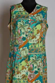 Image detail for -...  Loud Green and Blue Psychedelic Paisley Print 60s Shift – M/L