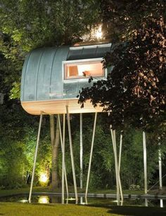 This unique tree house was designed by German firm Baumraum, a company that specializes in planning and developing tree houses, either built on the ground or on water. #treehouse
