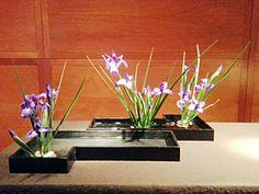 A low container arrangement by Shoko Itaka - Japanese Ikebana of the Sogetsu school.