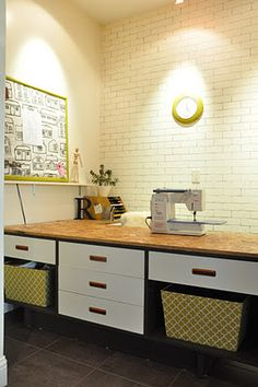 Faux brick wall for an office space!