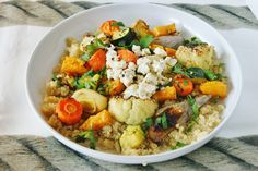 Quinoa with roasted vegetables and a baked garlic dressing | Save and organize your favourite recipes on your iPhone and iPad with @RecipeTin! Find out more www.recipetinapp.com #recipes #vegan #legumes