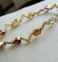 pulseira de ouro mix de gemas - jóias sem marca
