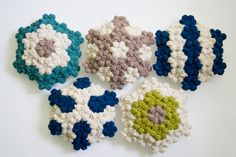 Crochet cushions. Would love to take this idea and the Apiary/Beekeeper's Quilt idea and combine them!