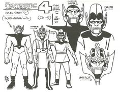 Alex Toth designs for the 1967 Hanna-Barbera Fantastic Four cartoon show; The Skrulls & The Super-Skrull, The Watcher, Doctor Doom, Diablo & The Red Ghost. (From Alex Toth: By Design, by the artist & Darrell McNeil. Hanna Barbera, Character Model Sheet, Character Modeling, Character Design, Character Reference, Comic Book Artists, Comic Artist, Comic Books Art, William Hanna