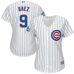 e908e26c3 Women s Chicago Cubs Javier Baez Majestic Home White 2016 World Series  Champions Team Logo Patch Player Jersey