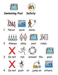 Visuals for swimming pool safety.