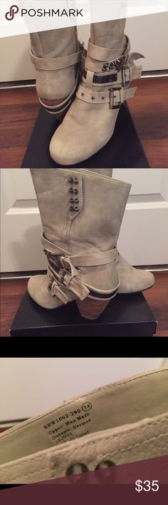 Buckle Boots Half way on the calf cute boot! Very comfortable. Only worn a few times. Some scuffing and chips. Need a new home! Not Rated Shoes Ankle Boots & Booties