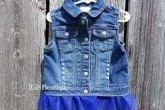 Toddler/Baby Girl Jean Jacket Jean Vest KC Royals Denim Vest Jean Jacket For Girls, Jean Vest, Cute Jackets, Denim Jackets, Baby Girl Jeans, Sewing A Button, Paw Patrol, Vests, Custom Made