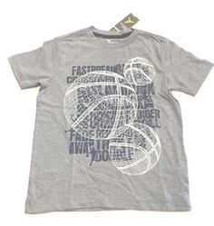 Boys Gray Athletic Tee Shirt Old Navy Active Basketball Fast Break Print | eBay