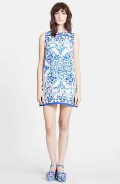 Dolce&Gabbana Tile Print Brocade Shift Dress available at #Nordstrom