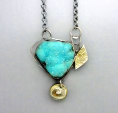 Natural+Chrysocolla+Drusy+Necklace+by+Temi+on+Etsy,+$190.00