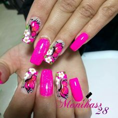 Uñas lindas Butterfly Nail Designs, Nail Art Designs, May Nails, Hair And Nails, Pink Nail Art, Pink Nails, Trendy Nails, Cute Nails, Pretty Nail Art