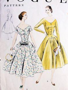 1950-е годы прекрасная Принцесса коктейльное вечернее платье выкройка мода 8614 фигура лестно дизайн Бюст 32 Винтажная Швейная
