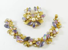 Vintage Kramer of New York Saphiret Molded Glass AB Rhinestone Leaf Demi Parure. This has gorgeous molded saphiret and opaline givre glass stones along with aurora borealis rhinestones and faux pearls