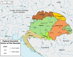Map of the Federal Socialist Union of the Danube, the socialist successor to the United States of Greater Hungary. Credits: Elements taken from wi. Map Union of the Danube (Greater Germany) Imaginary Maps, Fantasy Map, Alternate History, European History, Central Europe, Historical Maps, Family History, Germany, Wikimedia Commons