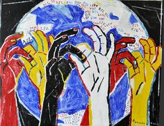 In the bacround, a globe with the abbreviations for the world's sign languages. In the foreground yellow, black, red and whit hands signing Simple Sign Language, Sign Language Phrases, Sign Language Interpreter, Learn Sign Language, Frases Libra, Hand Art Kids, Kid Art, Deaf Art, Asl Signs