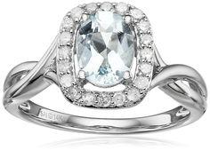 14k White Gold, Aquamarine, and Diamond (1/4 cttw, H-I Color, I2-I3 Clarity) Twist Ring, Size 7 > Save this wonderfull product