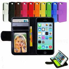 Leather-Magnetic-Flip-Folio-IC-Card-Wallet-Stand-Purse-Case-Cover-For-iPhone-5C