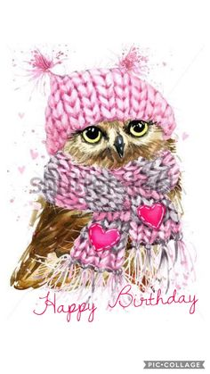 Owl with Pink Hat and Scarf : DIY Diamond painting. Owl with Pink Hat and Scarf. Square drill, 5 kit sizes to pick from. Happy Birthday Owl, Happy Birthday Messages, Happy Birthday Quotes, Happy Birthday Images, Happy Birthday Greetings, Birthday Pictures, It's Your Birthday, Birthday Cards, Home Wedding Decorations