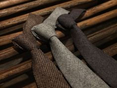 Thick wool & cotton ties for Winter, use earth tones, no pastels.