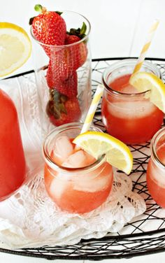 Homemade Strawberry Lemonade Recipe.  It's perfectly refreshing and delicious for a hot summer day.