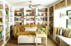 Floor to ceiling bookshelves with window seat and above window storage.