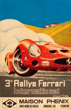 Ferrari 250 GTO International Rally, 1960s - original vintage poster by Francois Riviere listed on AntikBar.co.uk