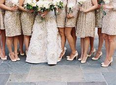 Beautiful black tie wedding bridesmaid dresses gold.