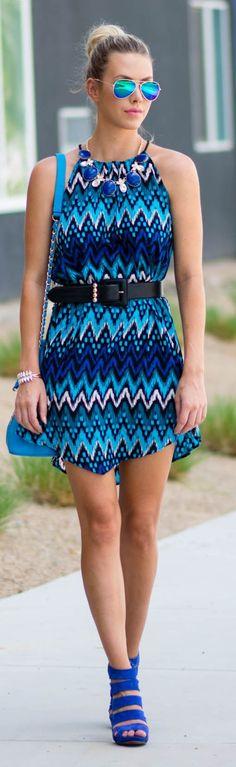 Blue Zig Zag Print Trapeze Dress by Kier Couture