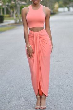 Sleeveless Crop Top and Solid Color Skirt Suit