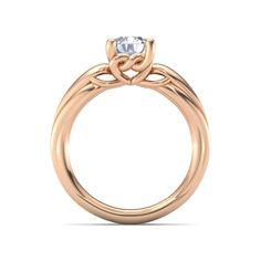Round Diamond 14K Rose Gold Ring   Adora Knot Solitaire Ring   Gemvara