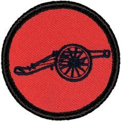 "Retro Red and Black Cannon 2012 Patrol Patch - 2"" Diameter Round Embroidered Patch"