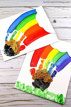 How to make a Rainbow Handprint Canvas Painting for St Patrick's Day #HandprintHolidays #kidscrafts #artsncrafts #rainbow #painting #canvasart #keepsake #ideasforkids #handprintcrafts #handprintart #stpatricksday #stpatricksdaycraft
