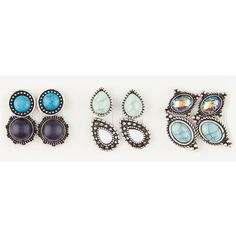 Full Tilt 6 Pairs Marble Circle Earrings ($6.99) ❤ liked on Polyvore featuring jewelry, earrings, circular earrings, stone earrings, circle jewelry, circle earrings and full tilt jewelry