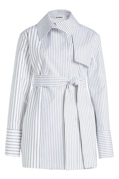 Jil Sander Striped Cotton Trench Jacket In Stripes Classy Work Outfits, Casual Outfits, Dress Shirts For Women, Blouses For Women, Pop Fashion, Fashion Outfits, Fashion Design, Sleeves Designs For Dresses, Clothes 2019