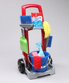 Ready, set, clean! This wheeled trolley has everything needed to keep the playroom spic and span. A broom and dust pan, mop, bucket and more are perfect for pretend play—and encourage kids to tidy up after themselves. 13.2'' W x 22.3'' H x 7.1'' DPlasticRecommended for ages 3 years and upImported