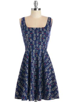 Very Charming Dress in Navy Owls - Print with Animals, Casual, Critters, Woodland Creature, A-line, Tank top (2 thick straps), Variation, Cotton, Woven, Blue, Red, Tan / Cream, Mid-length, Owls