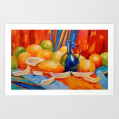 Still life with melon Art Print by OLHADARCHUK on Society6 @society6 #society6 #products #design #shop #shopping #buy #sale #fun #gift #idea #accessory #accessories #home #decor #style #fashion #art #digital #contemporary #cool #hip #awesome #awesomeness #chic #still #life #melon #fruit #red #blue #yellow #orange #color #food #foodie #delicious #tasty #eat